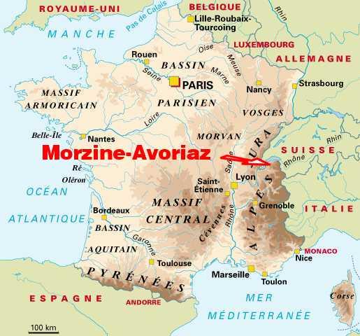 station de ski france carte ITINERAIRE PLAN D'ACCES A MORZINE AVORIAZ, PORTES DU SOLEIL