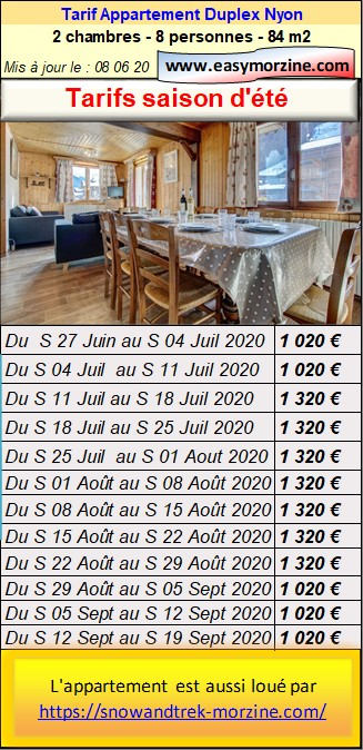 Prices list, schedule for booking the 2storeyflat nyon in summer
