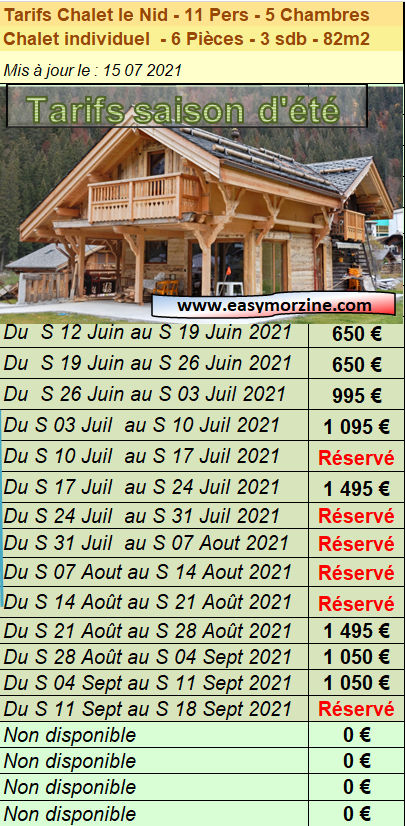 Prices list and schedule for booking the chalet le nid in summer