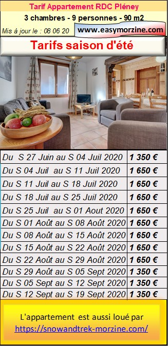 Prices list, schedule for booking the groundfloor flat Pleney in summer